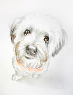 8x10 Watercolor custom pet portrait original by LamandaDesigns