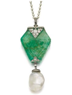 NATURAL PEARL, EMERALD AND DIAMOND PENDANT, CARTIER, EARLY 20TH CENTURY.  Sotheby's.