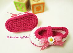 Reduced price Mary Janes baby booties// pair them by CrochetbyPalm, $13.00