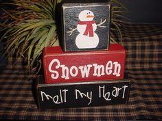 Snowmen Melt My Heart Wood Sign Shelf Blocks Primitive Country Rustic Holiday Seasonal Home Decor