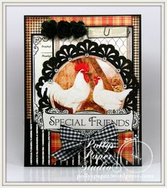 Special Friends Country French Rooster Greeting Card All Occasion Handmade