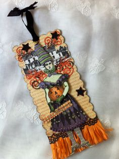 Halloween Card, Halloween Ornament,Witch, Paper Doll, Articulated, Mixed Media…