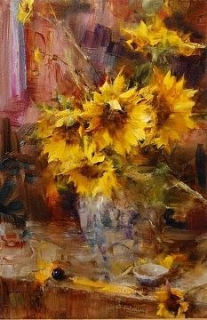 Sunflowers by Laura Robb Oil ~ 18 x 12