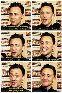 He looks so proud of his description of Loki in that last pic. :)