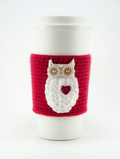 Coffee cozy cup sleeve owl always love you owl coffee cozy red sleeve red heart Valentine's day gift for her valentine (20.00 USD) by TableTopJewels