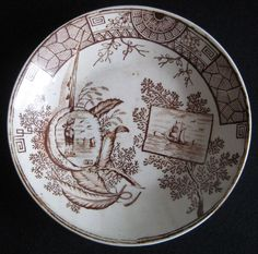 1800s England Child's Ironstone Brown Transferware China Dish from seaviewstudios on Ruby Lane