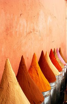 Spice piles in the Souks of Marrakech