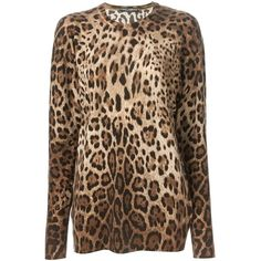 DOLCE & GABBANA Leopard Print Sweater (1,535 CAD) ❤ liked on Polyvore featuring tops, sweaters, brown sweater, ribbed top, brown cashmere sweater, leopard print sweater and leopard print long sleeve top
