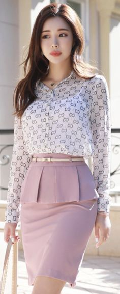 Conj de saia e blusa StyleOnme_Pleated Flap Detail Belted H-Line Skirt Pink Fashion, Asian Fashion, Skirt Fashion, Fashion Dresses, Womens Fashion, Edgy Outfits, Office Outfits, Classy Outfits, Pencil Skirt Outfits