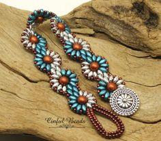 SUPERDUO DAISY CHAIN Bracelet-Silver-Copper-Pastel Emerald-Czech Glass-Flower Bracelet-Spiral Bracelet-Boho-(SD69D)) by CinfulBeadCreations on Etsy