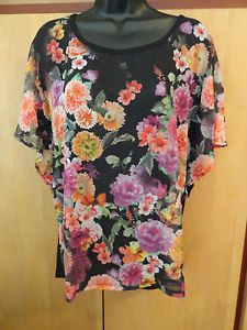 NEW STYLE & CO Tank & Top Size Large Scoop Neckline Butterfly Sleeves