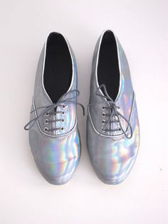 Holographic iridescent vegan faux leather pony oxford shoes (Handmade to order) // pinned by @dressmeSue