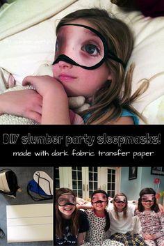 Kids have a blast making these crazy fun sleepmasks with dark fabric transfer paper! #transfercrafts #transferpaper #sleepoverideas #sleepover #kidscrafts #darkfabrictransfer