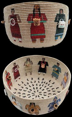 """GATHERING OF NATIONS"""" Carol Emarthle-Douglas (Seminole and Arapaho) ~ Northern Arapaho-Seminole Traditional coiled technique, waxed linen thread in various colors. Basket represents 11 basket weaving traditions across the US. How wonderful! American Indian Art, Native American Art, Native American Baskets, Indian Baskets, Indigenous Art, Tapestry Crochet, Native Art, Basket Weaving, Woven Baskets"""
