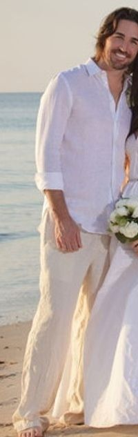 Grooms beach wedding attire...white linen shirt, tan pants.