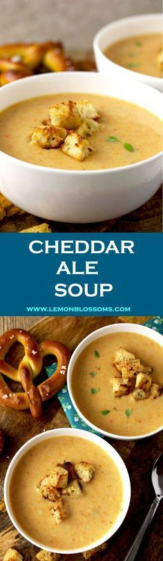 This Cheddar Ale Soup is thick, creamy, smooth and full of cheesy-goodness! Made with a light ale and a medium aged cheese to prevent bitterness. Very easy to make and ready in a bit less than 30 minutes! #cheddar #cheese #ale #beer #soup via @lmnblossoms