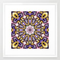 Decorative fractal kaleidoscope with optical effects and decorative patterns in the colors purple, gold / yellow, blue, pink and a bit red. (kaleidoscope...