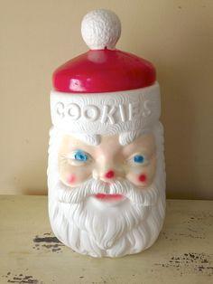 Vintage Plastic Santa Cookie Jar