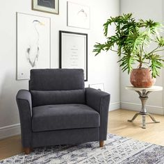 Perfect for curling up with a good book or spreading out while you watch a movie, an armchair like this is a great option for creating a cozy nook with a little extra space. Chair And A Half, Cozy Nook, Small Spaces, Accent Chairs, Armchair, Upholstery, Relax, Cushions