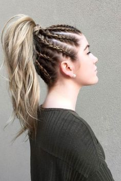 Best Sporty Ponytail Hairstyles for Your Workout Routine ★ See more: lovehairs… - Hair Styles Sporty Hairstyles, Box Braids Hairstyles, Cool Hairstyles, Hairstyle Ideas, Hairstyles 2018, Cornrow Hairstyles White, Female Hairstyles, Ethnic Hairstyles, Long Hairstyles