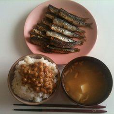 【8/4・Lunch】イワシ、納豆ごはん、なめこ味噌汁