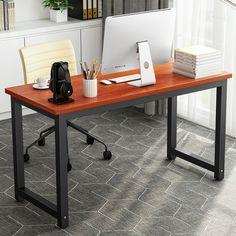 Tribesigns Computer Desk, Large Office Desk Computer Table Study Writing Desk for Home Office, Teak + Black Leg Large Office Desk, Large Desk, Office Desks, Pc Desk, Desk Setup, Modern L Shaped Desk, Work Station Desk, Simple Desk, Metal Desks
