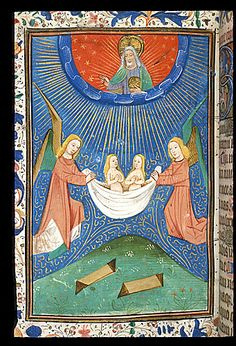 A fifteenth-century southern Netherlandish miniature  from a book of hours depicting souls ascending to heaven; God/Christ is above, with cruciform halo and an orb, symbol of his dominion; (Harley 2985 f.128v). (British Library)
