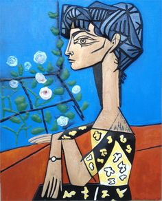 """Picasso """"Portrait of a Woman""""  Jaqueline with Flower"""