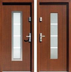 Drzwi wejściowe z aplikacjami inox model 499,2-499,12+ds1 w kolorze orzech