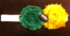 Infant Green Bay Packers Colors  Green Yellow Football Flower Headband Baby Girl..............and YES...I just ordered this!!!