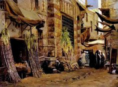 In the Quarter of the Hassanayn , Cairo 1882 By John Varley Jnr. (British, 1850-1933) Oil on canvas