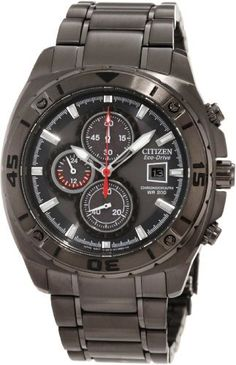 Citizen Men's CA0307-51H Sport Eco-Drive Chronograph Watch Citizen. $315.00. Chronograph. Black ion plated stainless steel. Eco-drive. Water-resistant to 200 M (660 feet). Mineral glass crystal