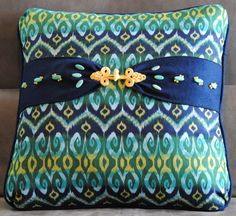 Cotton batik fabric home decor pillow in by StitchStonesArtistry, $80.00