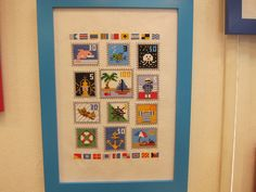 cross-stitch postage stamps by Makoto Oozu, via Flickr
