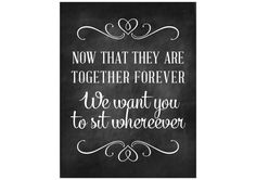 Together Forever Seating Sign - Inexpensive Wedding Printables #weddingprintables