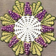 Vintage Doily Pattern | Vintage Crochet Grape Popcorn Quick Doily Motif Pattern