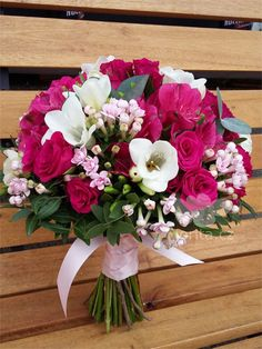 Bouquet inspiration but with varied colors (fuchsia, peach, blush, burgundy, red, ivory, white)