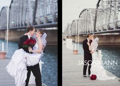 Sturgeon Bay's Steel Bridge is the backdrop for this wedding couple at their Door County winter wedding.    © Jason Mann Photography | Door County Wedding Photographer. http://www.jmannphoto.com