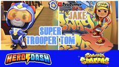 Talking Tom Hero Dash (Super Trooper Tom) vs Subway Surfers (Jake) | Pew... Super Troopers, Subway Surfers, Mario Kart, Toms, Hero, Fictional Characters, Fantasy Characters