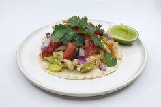 Cheat's chicken and avocado tostadas