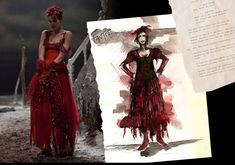 Concept art and production still of a costume worn by Fantine, played by Anne Hathaway, in the 2012 film adaption of the Broadway musical Les Miserables. Based on the novel by Victor Hugo. Costume design by Paco Delgado.