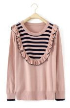 Pink Long Sleeve Striped Ruffles Pullovers Sweater $40.88