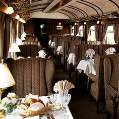 A dining car on the Mystery Trip on the Orient Express.