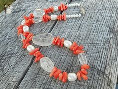 Coral Chip Beaded with Cultured Freshwater Pearl & Faceted Crystal Necklace - Wedding nacklaces (*Amazon Partner-Link)