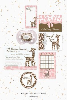 Pink and brown baby giraffe animal print design jungle baby shower theme invitation and new baby set in pink for your new baby girl.