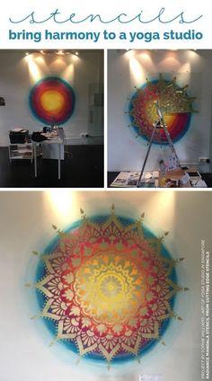 Cutting Edge Stencils shares how a yoga studio added stylish harmony to an accent wall using the Radiance Mandala Stencil in gold over Unicorn Spit gel stain #diy #mandala #yoga #wallart #yogadiy