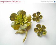 Vintage Enamel Flower Brooch Matching Clip On by IchLiebeVintage