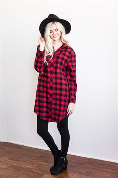 You'll live in our Oversized Boyfriend Plaid Tunic all season long! It's made of the softest flannel fabric, with an on-trend buffalo plaid print, oversized, tunic length fit, and front hidden pockets!