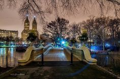 New York City Feelings - Night at Bow bridge, Central Park by New York City Central Park, Cool Photos, Places To Visit, Loft, Nyc, Mansions, Night, House Styles, Instagram Posts