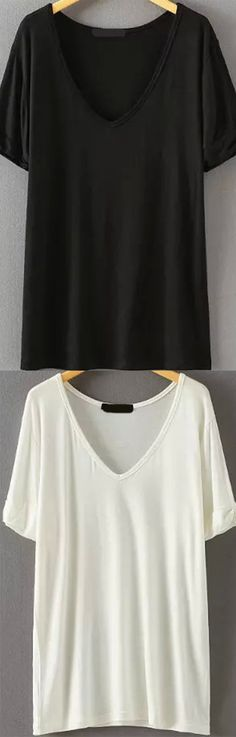 Super soft cotton loose t-shirt in black or white color.Go for it at romwe.com and sign up for up to 60% off !